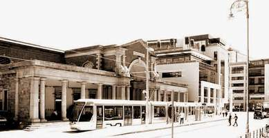 Luas Dublin tram image & old Harcourt Street rail station